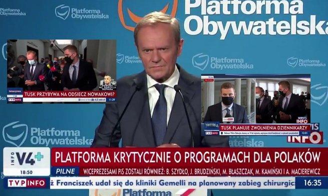 Reporterzy TVP robią kolejne szarże bez trzymanki na Tuska, Tusk przypomina, co się stało z Adamowiczem