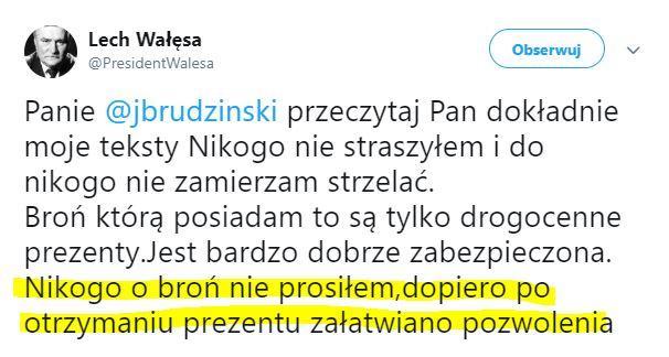 """Policja: """"Zweryfikujemy zasadność posiadania broni przez Lecha Wałęsę"""""""