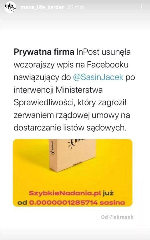InPost zażartował z Sasina. Reklamuje swoje usługi z wykorzystaniem sasinatora