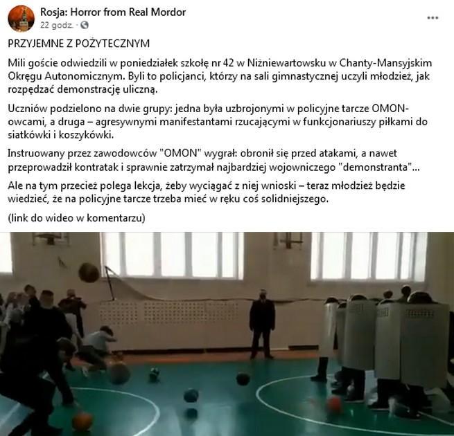 Rosja: policjanci pokazali dzieciom w szkole jak się rozpędza demonstrację