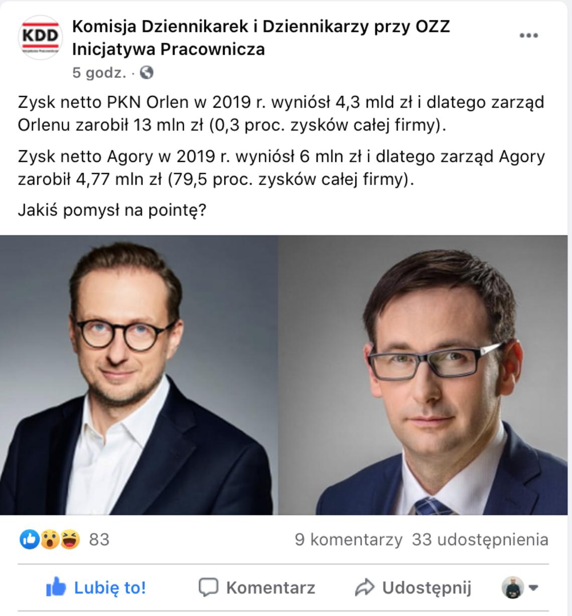 Agora vs PKN Orlen: wynagrodzenia zarządu