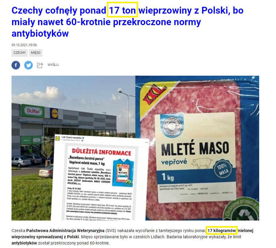 Czechy cofnęły ponad 17 ton wieprzowiny z Polski, bo miały nawet 60-krotnie przekroczone normy antybiotyków